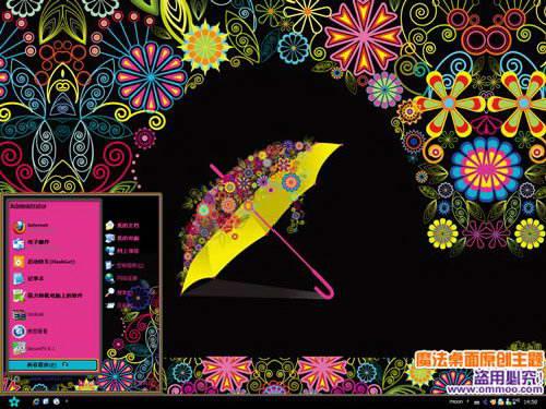 魔法桌面繽紛花朵雨傘電腦桌面主題